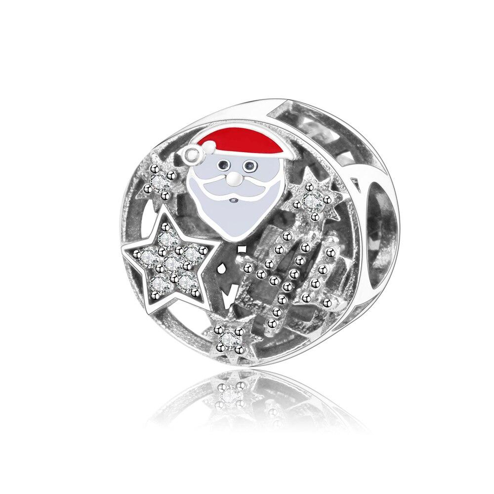 Cute Santa Claus Charms With Enamel CZ Fits Original Pandora Charm Bracelet 925 Sterling Silver DIY Beads Jewelry Berloque 2018