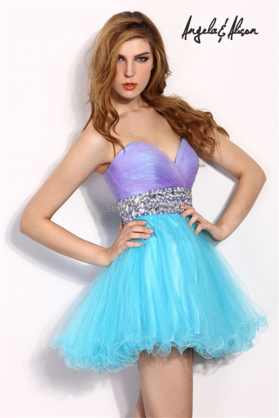 Blue And Purple Cocktail Dress With Bling Crystal Sashes Party Dress ...