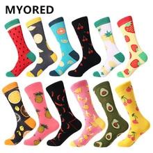 MYORED 12pairs/Lot Casual Men Socks Plaid Colorful fruit cartoon animal dot stripes happy Business Party Dress Cotton Socks Man