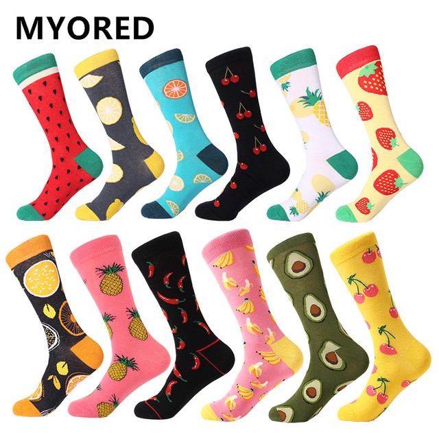 MYORED 12pairs/Lot Casual Men Socks Plaid Colorful fruit cartoon animal dot stripes happy Business Party Dress Cotton Socks Man