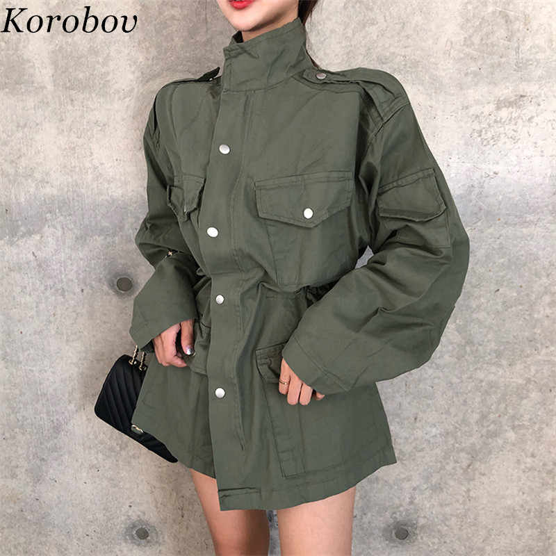 Korobov 2019 New Auttum Sashes Slim Women Jackets Button Pockets Vintage Female Coats Loose Casual Mujer Outwear 76041