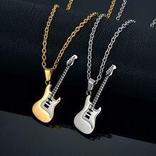 Эмаль Гитары Цепочки и ожерелья и кулон для Для женщин/Для мужчин хип-хоп pendentif золотые украшения Цвет Нержавеющая сталь рок музыкальный Ожерелья для мужчин