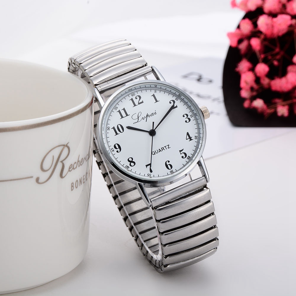 Lvpai Women's Watch Couple Quartz Dress Stainless Steel With Clock Gift Fashion Elastic Telescopic Strap Ladies Watch Clock XB40