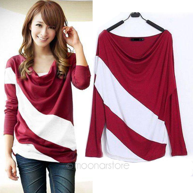 Patchwork t shirt women long sleeve t shirt tops women for Long sleeve t shirts with collar