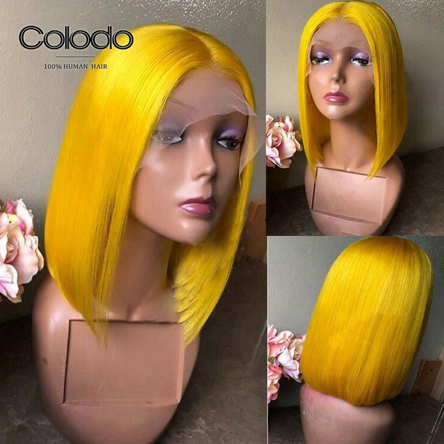 COLODO 150% Blonde Bob Lace Front Wigs Pre Plucked Remy Orange Hair Brazilian Ombre Lace Wig Yellow Short Human Hair Wigs 13x4