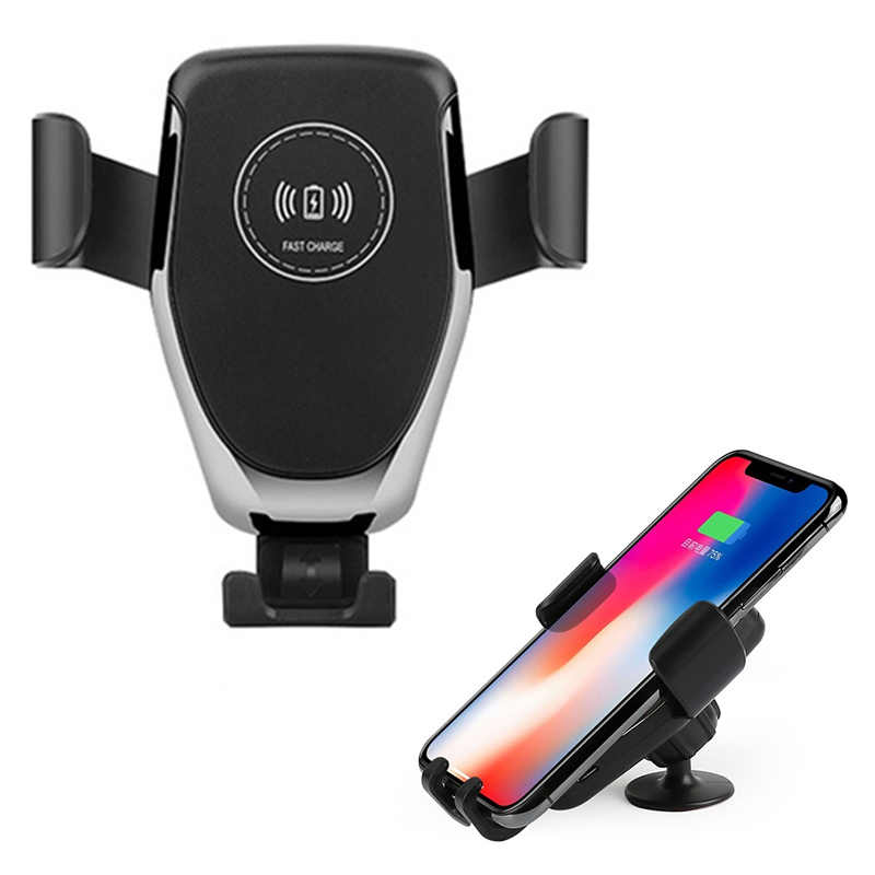 Car Mount Qi Wireless Chargers Automatic Clamping Holder 360 Degree Rotatable USB Car Mount Charger For Samsung Huawei Xiaomi