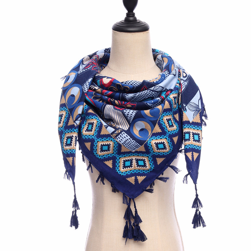 2018 new brand women scarves square cotton soft warm spring winter wraps lady pashmina bandana Tassels big size 110*110cm