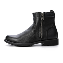 Men's Rubber Work Boots New Mans Black/Brown Zipper Ankle Boots With Short Fur Top Fashion Winter Shoes Plus Size 40-45