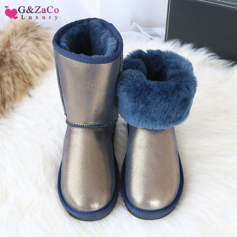 G Zaco Luxury Sheepskin Snow Boots Women Natural Fur Genuine Leather Middle Calf Classic Tube Boots