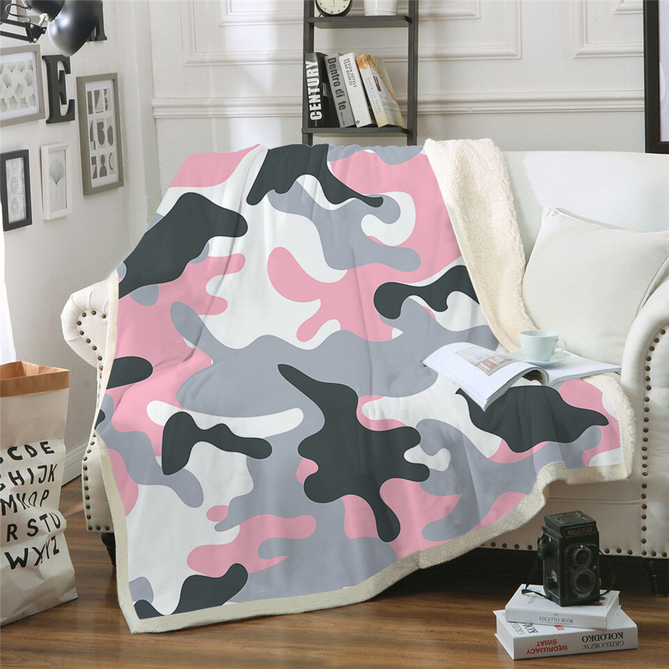 "Camo Camouflage Microplush Fleece Throw 50/"" x 60/"" Velvety Soft"