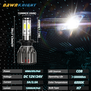 Image 5 - 4 Sides  H7 Led Bulb 9005 9006HB4 H8 H9 H11 H7 Led Lamp 12000LM 6000K Turbo Cooling Car Led Headlight 360degree Illumination