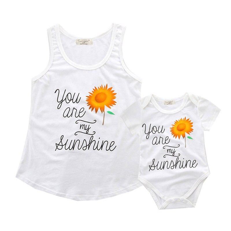 0-2 T Sommer Mutter Baby Sohn Tochter Kinder Passende Outfits Frauen Weste Tops Neugeborenes Baby Strampler Sonnenschein Baumwolle Tank Einfach Zu Reparieren