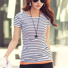 2017 Striped Cotton Female T-shirt