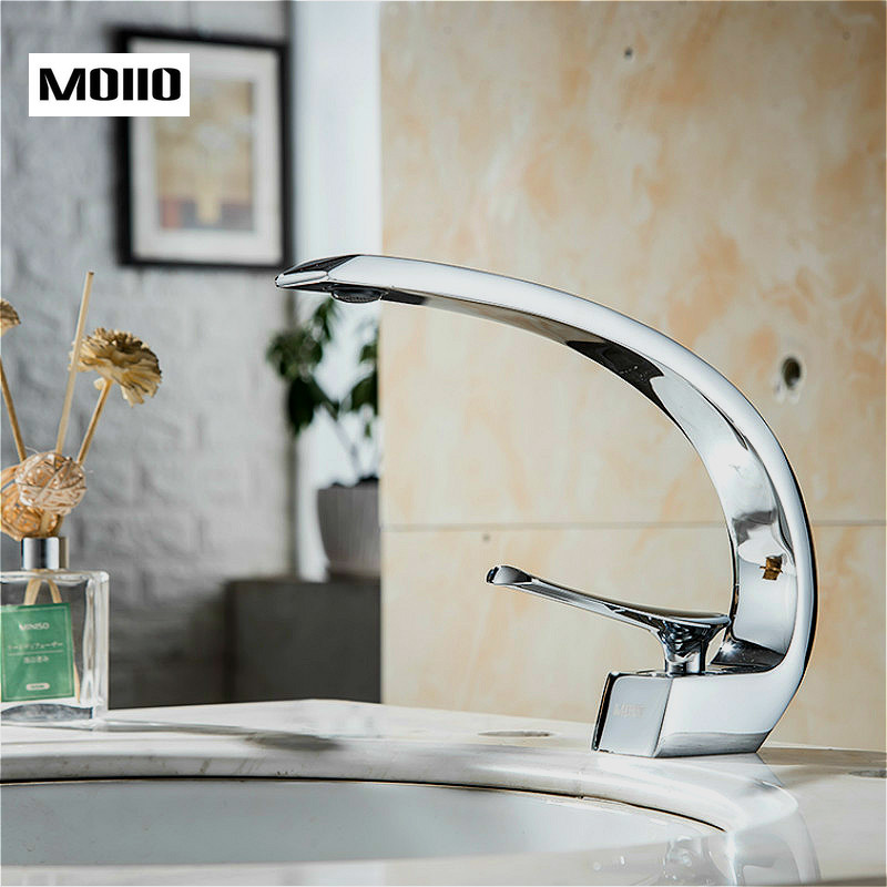 MOIIO Bathroom Sink Basin Faucet Deck Mount Bright Chrome Washing Basin Mixer Water Taps Creative Hot Cold Water Crane MixersMOIIO Bathroom Sink Basin Faucet Deck Mount Bright Chrome Washing Basin Mixer Water Taps Creative Hot Cold Water Crane Mixers