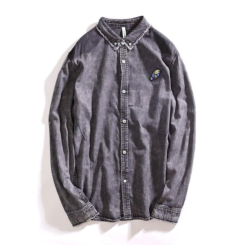 IFRICH Men Denim Shirt Fashion Casual Mens Camisa Long Sleeve Slim Fit Social Blue Grey Shirts Dress High Quality Clothing