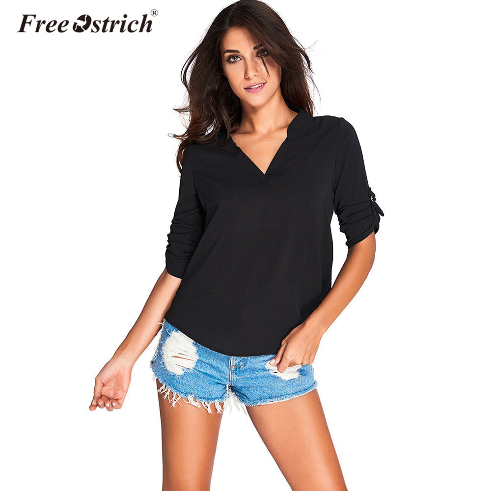 Free Ostrich OL Blouse Tops 2018 Ladies Summer Deep V Neck Blouse Shirts Women Sexy Loose Basic Plus Size Blusas Femininas D30