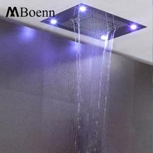 ФОТО ceiling embedded rainfall waterfall led shower head big water curtain showerhead bathroom 600*800mm 3 functions showers brushed
