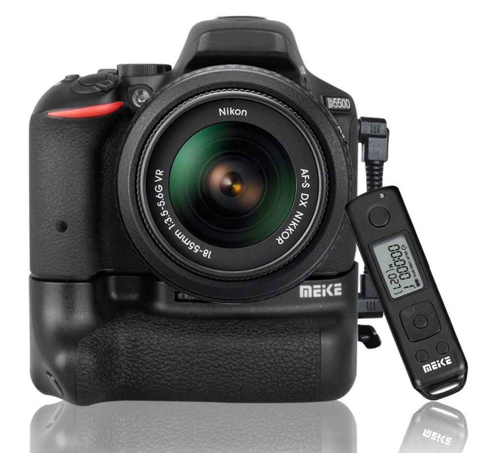 Meike MK-DR5500 Built-in 2.4G LCD Wireless Remote Control Vertical Grip for Nikon D5500 Works with 2xEN-EL14a Battery meike mk 760d pro built in 2 4g wireless control battery grip suit for canon 750d 760d as bg e18