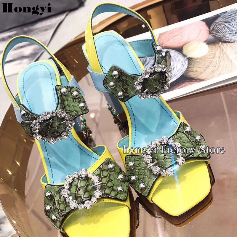 Luxury Jewel Snakeskin Pattern Bling Bling Crystal Block Heeled Ankle Wrap Straps Women Sandals With Rivet ankle strap block heeled pu sandals