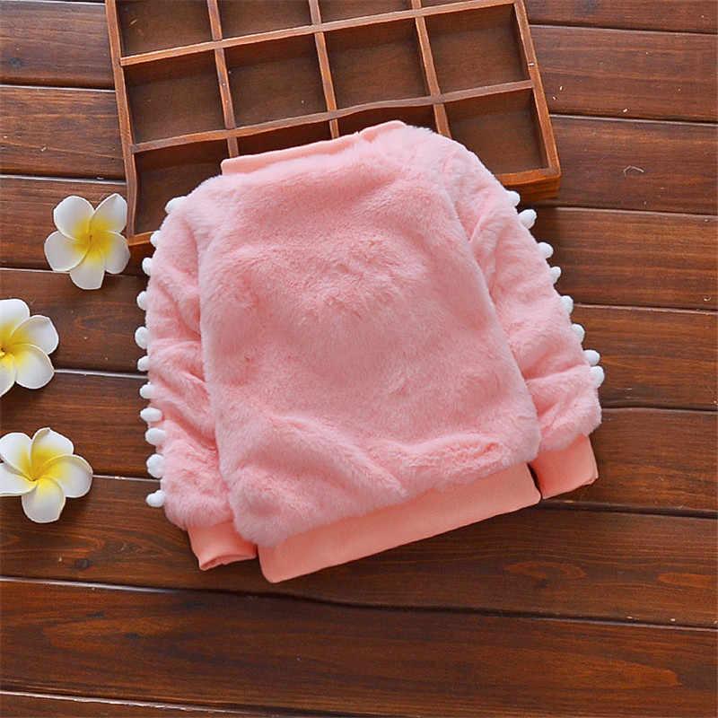 BibiCola 겨울 스웨터 아기 소녀 스웨터 면화 패션 겉옷 유아 만화 꿀벌 플러스 벨벳 아기 소녀를위한 따뜻한 의류