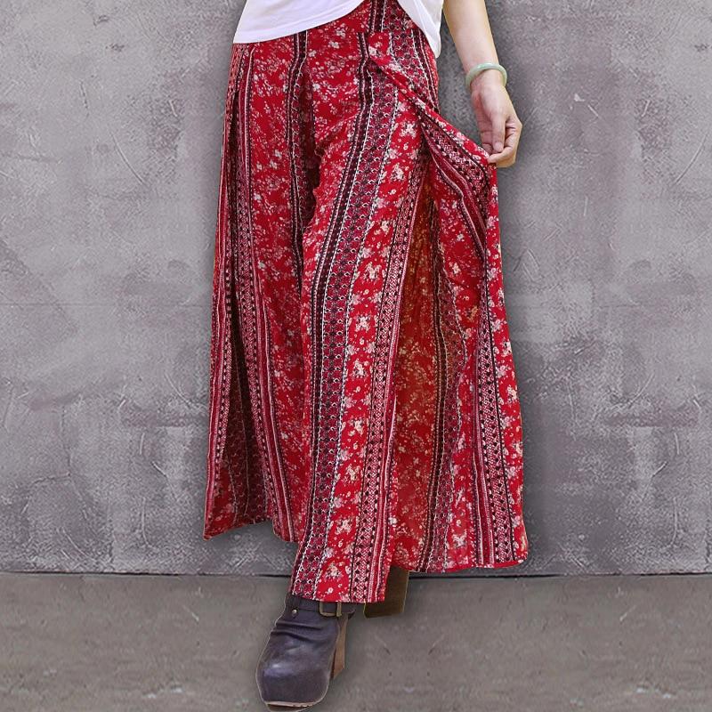 Muxu Elegante Flower Ancho Pantalón De Bohemia Mujer Streetwear Vintage Verano Pantalones Floral Impresión Algodón Colour xH7pxZr