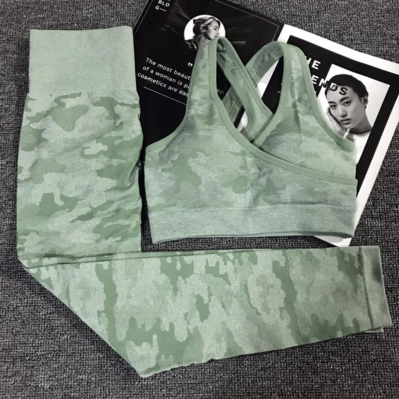 2PCS Camouflage Camo Yoga Set Sports Wear For Women Gym Fitness Clothing Booty Yoga Leggings + Sport Bra GYM Sport Suit Femme