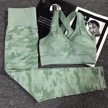 2PCS del Camuffamento di Camo di Yoga Set Abbigliamento Sportivo Per Le Donne Palestra Fitness Abbigliamento Booty Ghette di Yoga + Sport Bra PALESTRA vestito di Sport Femme