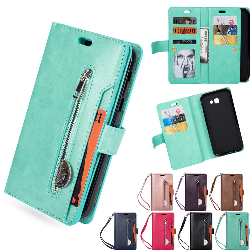 9 Card Slot Luxury PU Leather <font><b>Case</b></font> For <font><b>Samsung</b></font> Galaxy A7 A5 J3 <font><b>J7</b></font> J5 <font><b>2017</b></font> Flip Phone <font><b>Case</b></font> Zipper Wallet Cover <font><b>Mobile</b></font> Phone Bag image