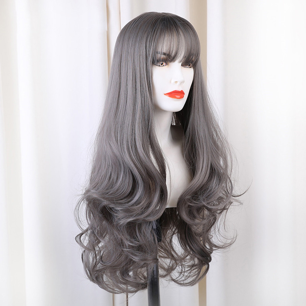 Women Lady Fashion DIY Natural Wave Wigs for Women Middle Part Heat Resistant Cosplay Wig Peluca Perruque Gift Dropshipping