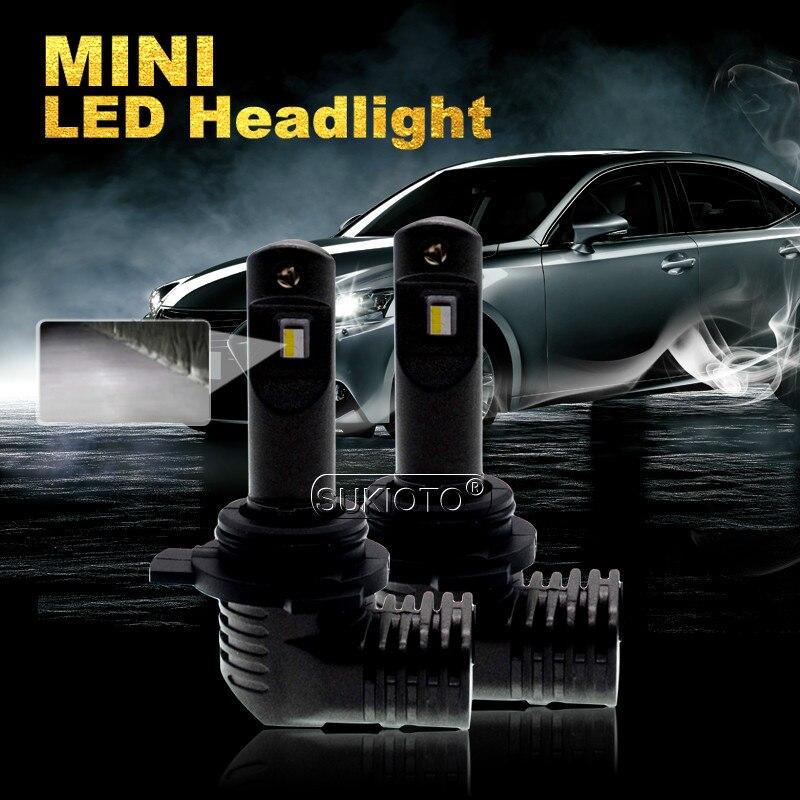 SUKIOTO 2 pièces Mini LED Ampoule de phare de voiture de 9005 9012 HIR2 H7 H8/HB3 H9/HB4 H11 H16 5202/PSX24W/P13W/PSX26W 6000 k 5200lm 12 V 35 W LED