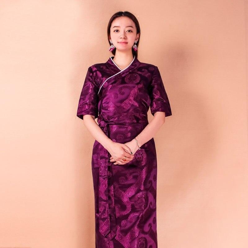 Tibétain traditionnel femme vêtements jacquard robe Tibet style vêtements garde-robe couleur Lhasa Bora tenue chinois minorité porter