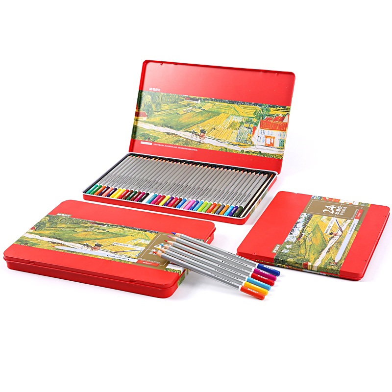 M&G Stationery school hexagonal water-soluble 24/36/48 color pencil tin box lapices de colores faber castell AWPQ1902 faber castell 12 24 36 60 colors blue tin lattice water color water soluble colour pencil