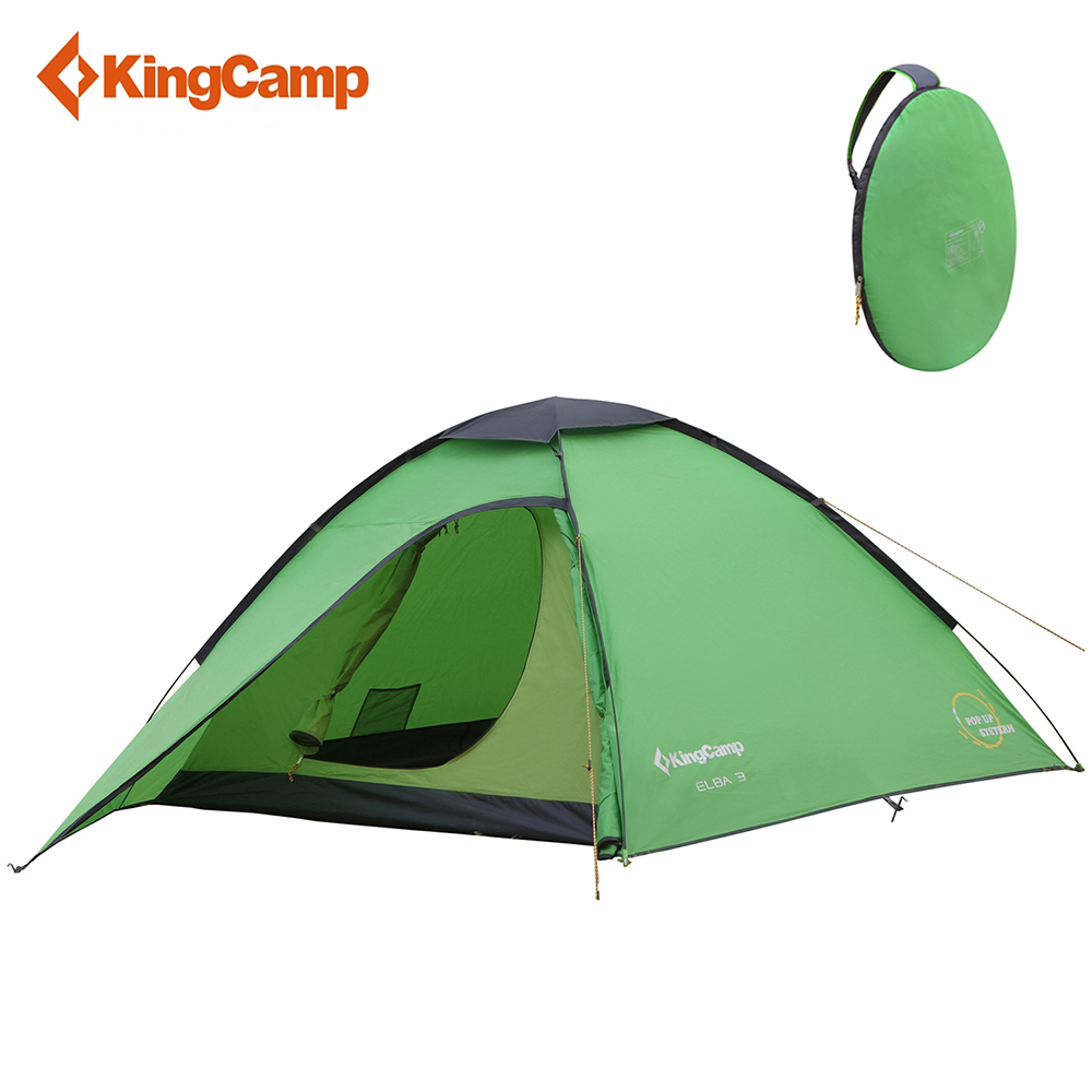 KingCamp Camping Tent 3-Person 3-Season Portable Ultralight Instant Dome Double Layer Pop up tent for Outdoor Backpacking yingtouman outdoor 2 person waterproof double layer tent fiberglass rod portable ultralight camping hikingtents
