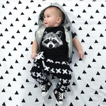 2Pcs Newborn Baby Boy Clothes Short Sleeved Fox Pinrt T-shirt Tops+Legging Pants Infant Toddler Clothing Set