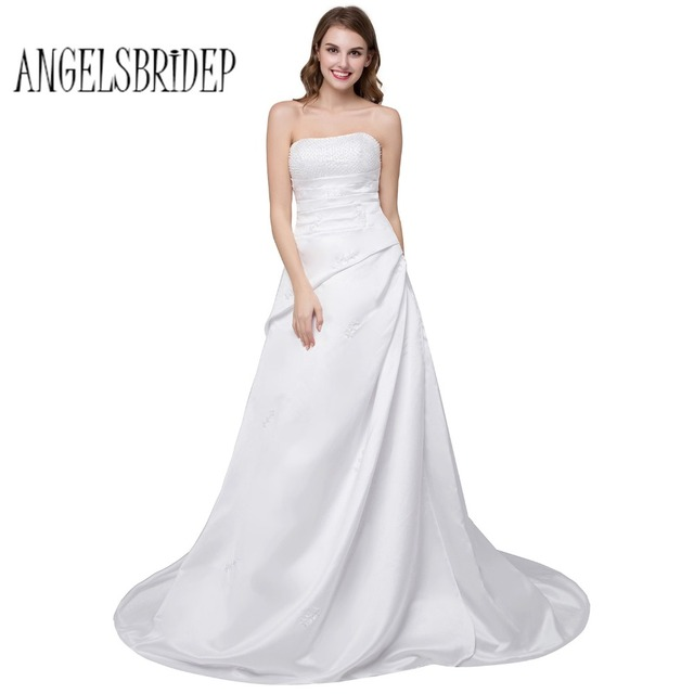 ANGELSBRIDEP Vintage Beaded Wedding Dresses Strapless Chapel Train Bridal Gown Lace Up Back Stock Size