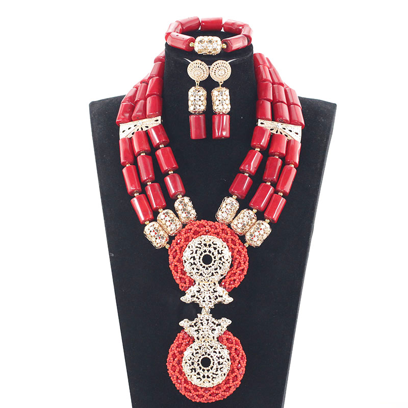 2017Splendid Red and Gold Nigerian Wedding Coral Beads Jewelry Set Dubai Indian Bridal African Coral Jewelry Sets Original JB038 цены онлайн
