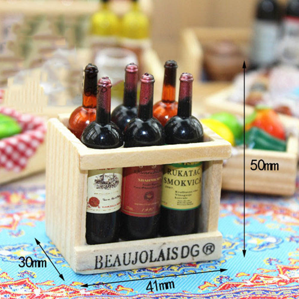 US $0 99 40% OFF|1/12 Dollhouse Miniature Accessories Mini Wine Bottle Set  with Box Simulation Drinks Model Toys for Doll House Decoration-in