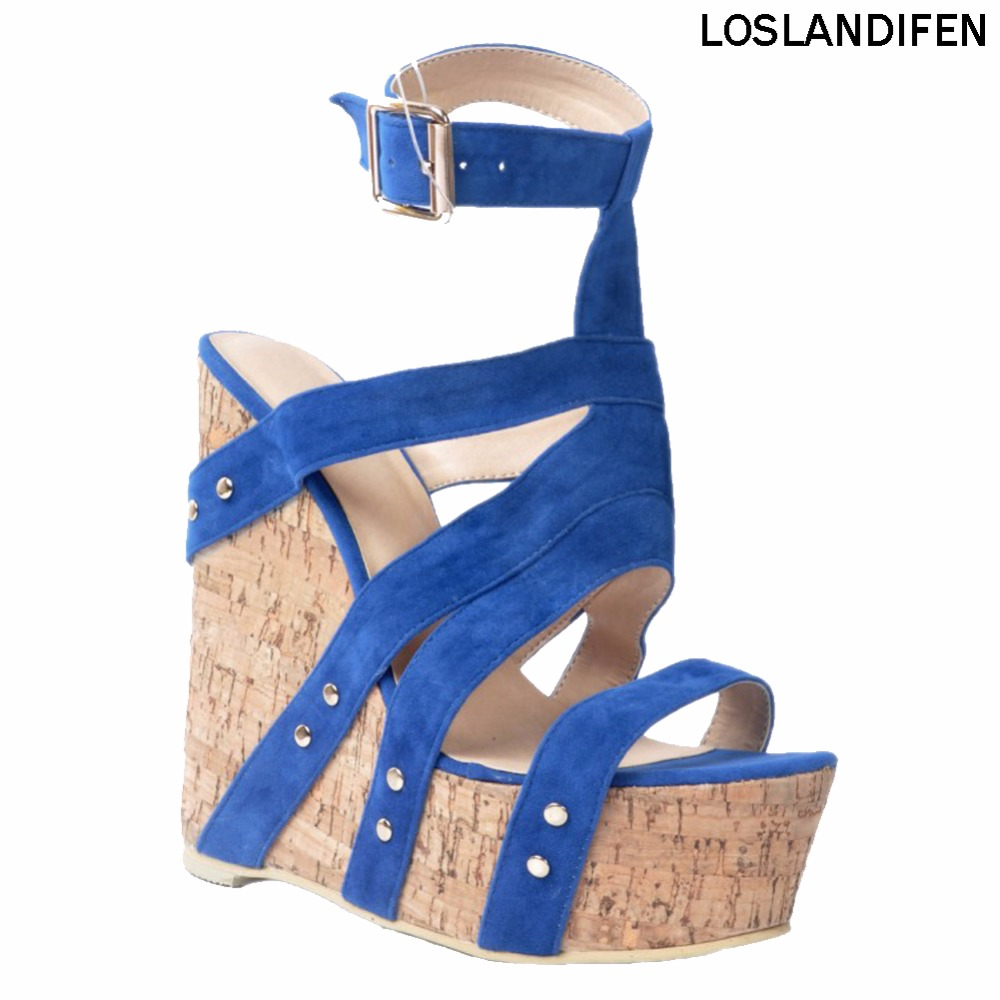 Casual Sandals Heel Wadge Shoes Ankle-Strap Handmade Platform Summer Womens Fashion Sweet