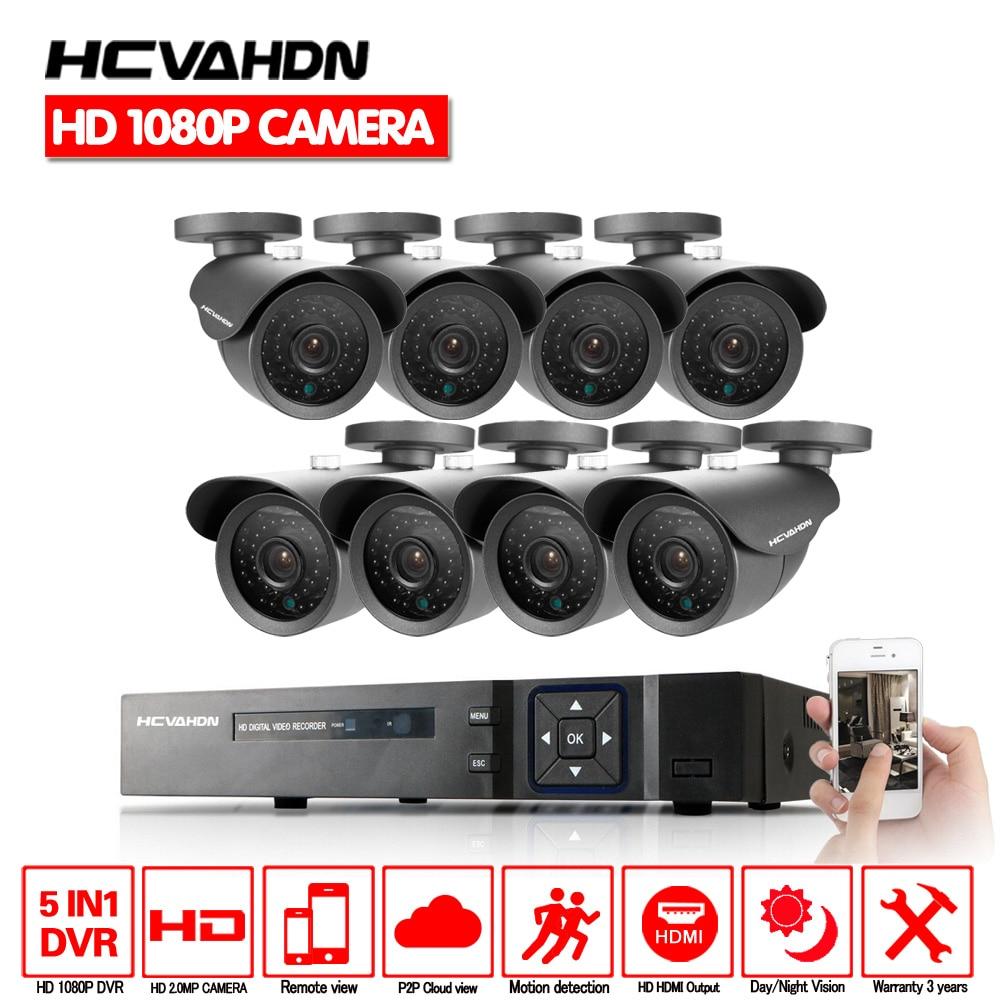 HD 8 Canal Système de Surveillance À Domicile 8CH AHD DVR Kits 2.0MP 1080 p 3000TVL Étanche CCTV Caméras de Sécurité Système multi -langue