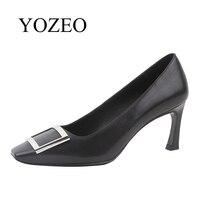 YOZEO 2018 сезон: весна–лето новые модные туфли лодочки с острым носком очень высокий каблук Женская обувь из натуральной кожи Дамская Свадебна