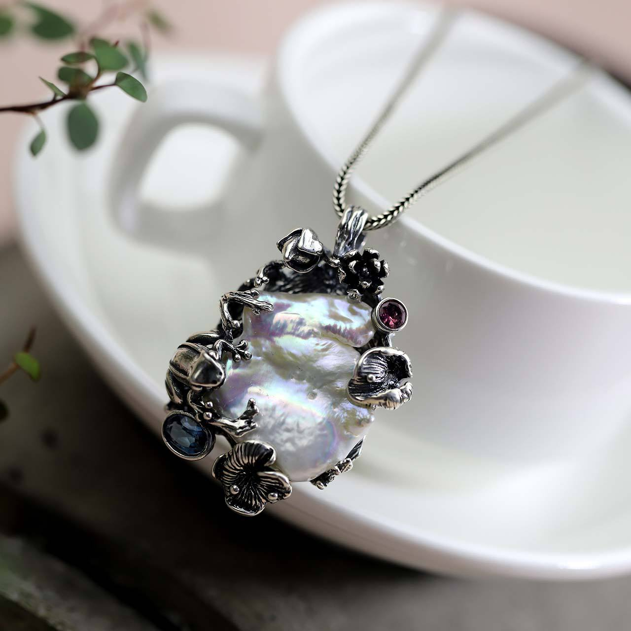 S925, pure silver jewelry, Thai silver, hand-made lady accessories, new pearl pendant.S925, pure silver jewelry, Thai silver, hand-made lady accessories, new pearl pendant.