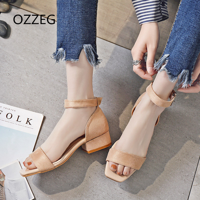 Summer Women Sandals Open Toe Casual Womens Sandles Thick Heel Women Shoes Ankle Strap Women Sandals Square Heel Shoes