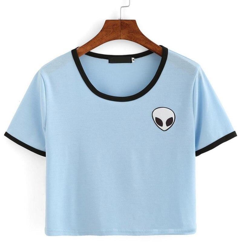 HTB1uZuDNFXXXXX7XpXXq6xXFXXXv - Cute Stripe Short Sleeve Cotton Top Tee Alien Embroidery Tshirts