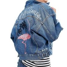 Denim Jacket Women Basic Coats Chaquetas Mujer Female Outerwear Embroidery Pocket Jaqueta Feminina Autumn Jeans WT4538