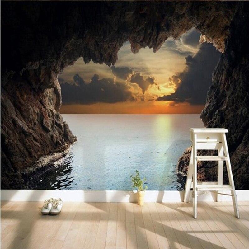 Custom mural wallpapers modern minimalist cave sunset - Murales de pared 3d ...