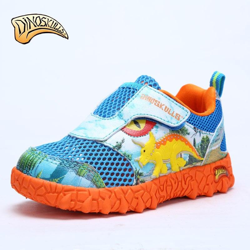 Dinoskulls Mesh Sneakers Kids Breathable Air Mesh Tenis Infantil Children Sport Shoes Boys Running 3D Dinosaur Casual Shoes цена
