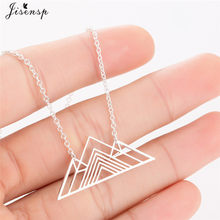 Jisensp Trendy Art Deco Triangle Necklace Pendant Long Chain Mountain Charm Geometric Necklaces for Women Jewellery Collar(China)