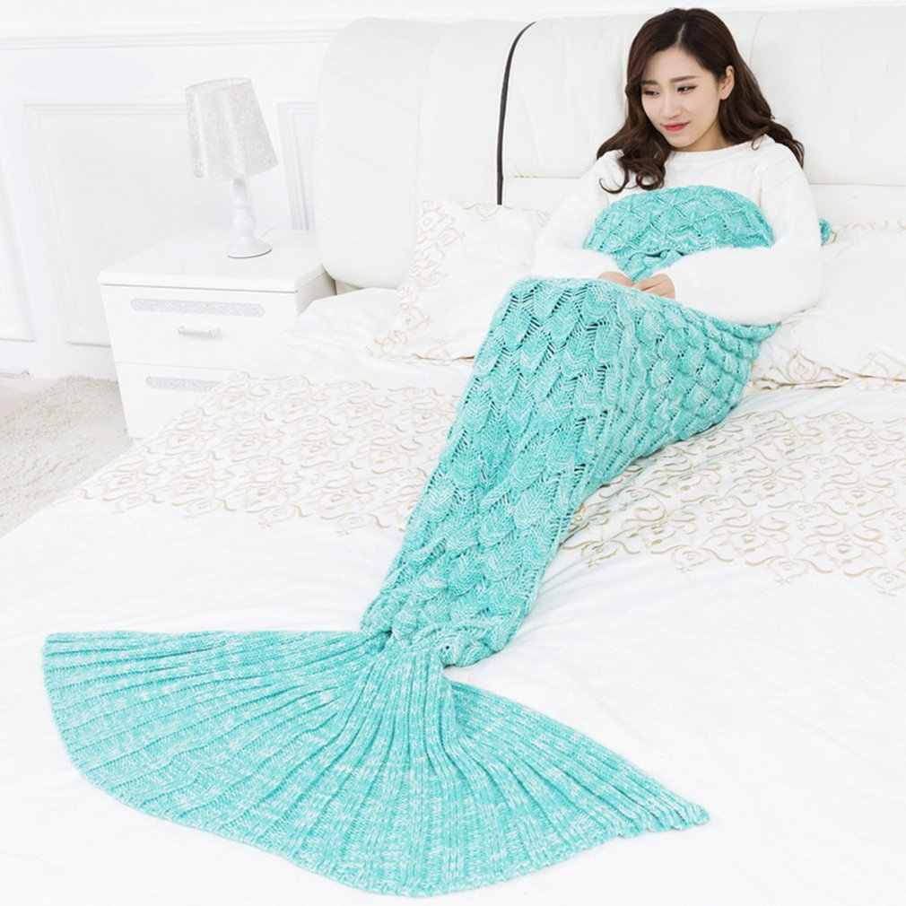 princesses dream 9 Colors large Soft Knitted Mermaid Tail Blanket  Sleeping Wrap Crochet Handmade Sleeping Bag for Best Birthday