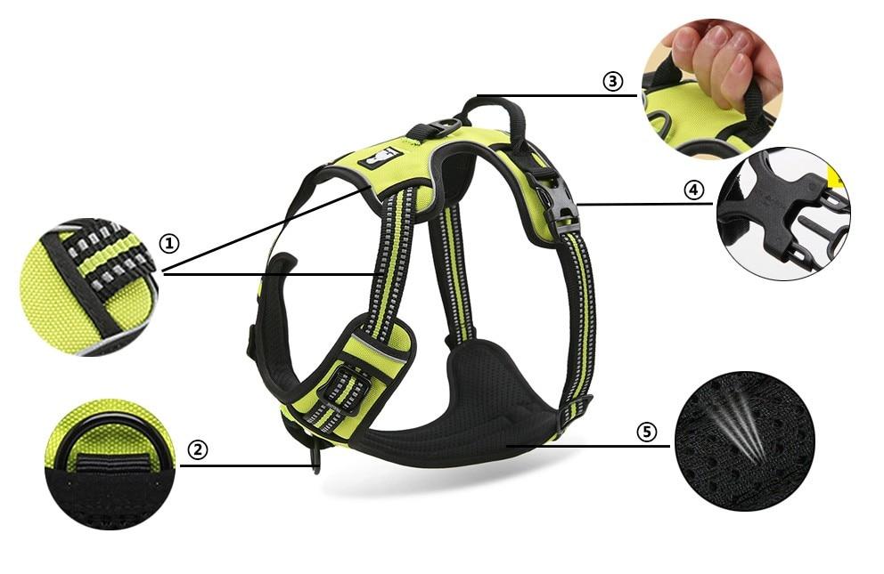 Arnés de nailon reflectante para perros, todo tipo de clima, chaleco para perros, correa acolchada ajustable para seguridad en vehículos