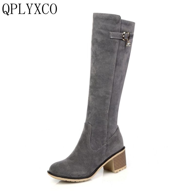 QPLYXCO 2017 New  Rome Big Size 34-43 Fashion Women Knee High Boots Woman Round Toe Platform High Heel Shoes Ladies Bootie C9-3